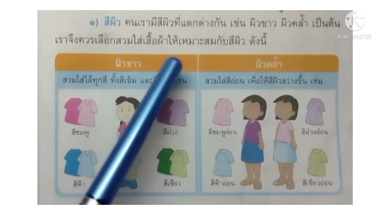 การงานอาชีพ ป.3 การเลือกเสื้อผ้าให้เหมาะสมกับรูปร่างลักษณะ