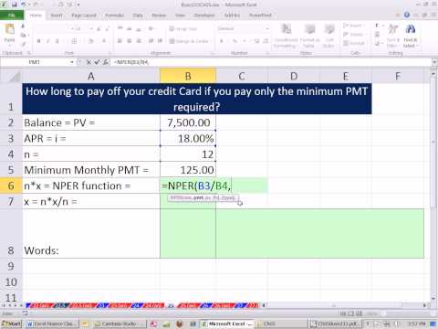 Excel Finance Cl How Long To Pay Off Credit Card With Minimum Payment