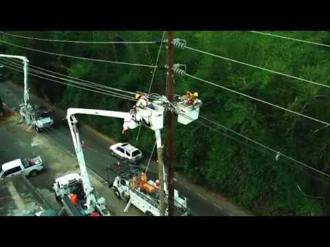 Puerto Rico January 2018 Power Restoration Drone Footage