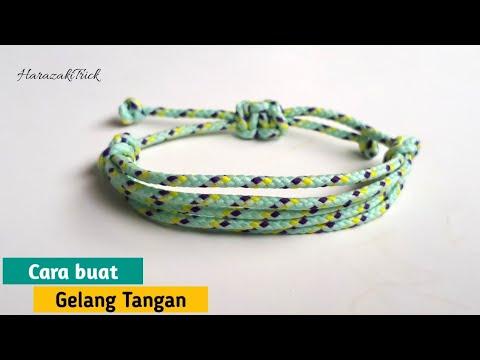 Cara membuat Gelang tangan motif 5 dari tali Prusik | How to make a bracelet 5 band