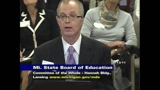 Michigan State Board of Education Meeting for September 13, 2011 - Session Part 1