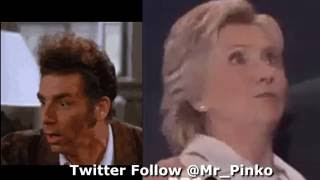 Hillary Clinton PLAGIARIZES Kramer FEIGNING surprise balloon drop @Mr_Pinko ORIGINAL