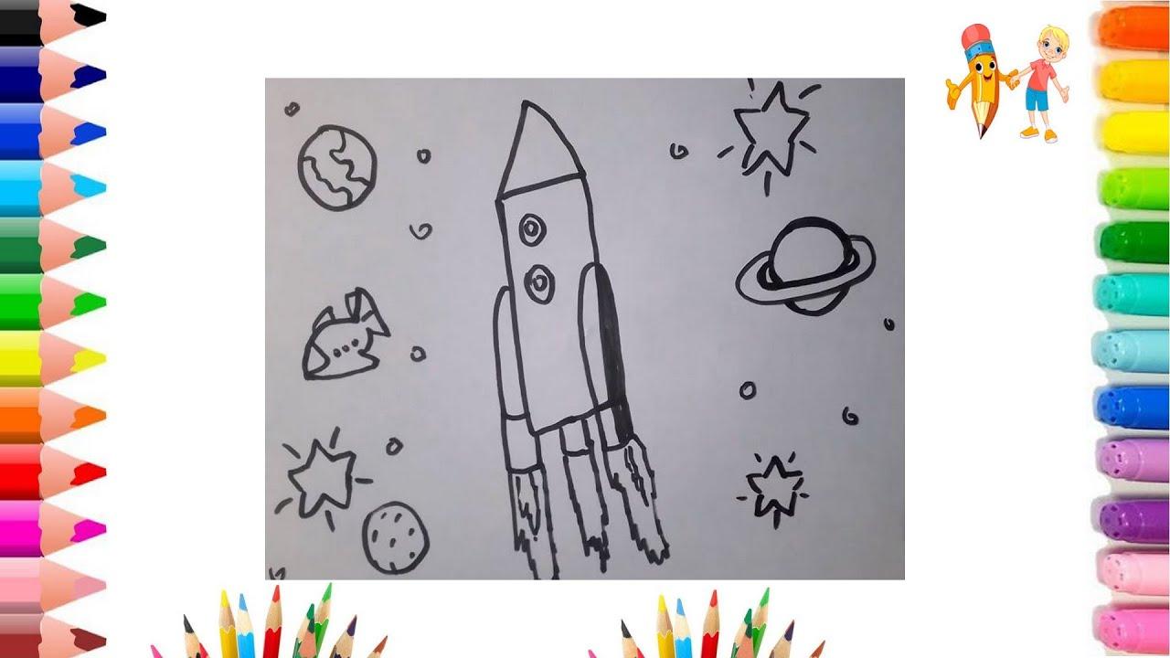 Как нарисовать РАКЕТУ / Раскраска мультик для детей ...