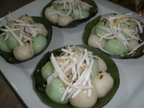 Plih Eigh Recipe Dessert (Glutinous Rice Flour Ball Palm Sugar Filling)