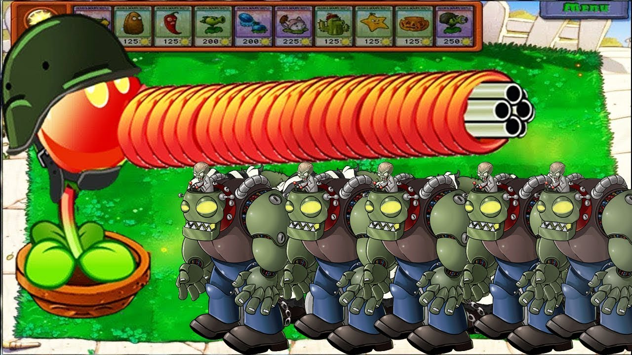 Plants vs Zombies Hack - Gatling Pea vs Gargantuar vs Zomboss