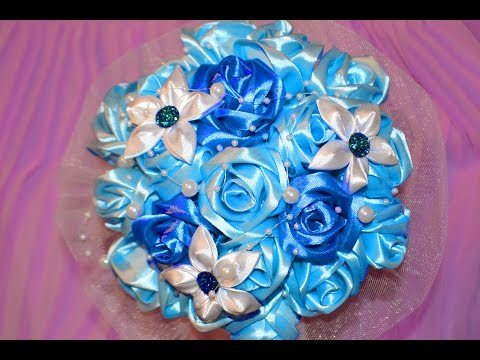 Свадебный букет . Синие розы