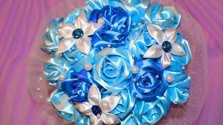 Свадебный букет в синих тонах. Мастер класс