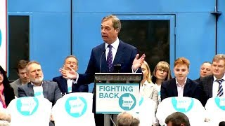 Nigel Farage launches Brexit Party, introduces first EP candidates, Coventry, 12th April 2019