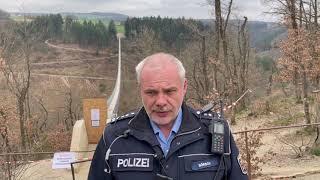 Geierlay-Brücke gesperrt - Polizeikontrollen an Ostern