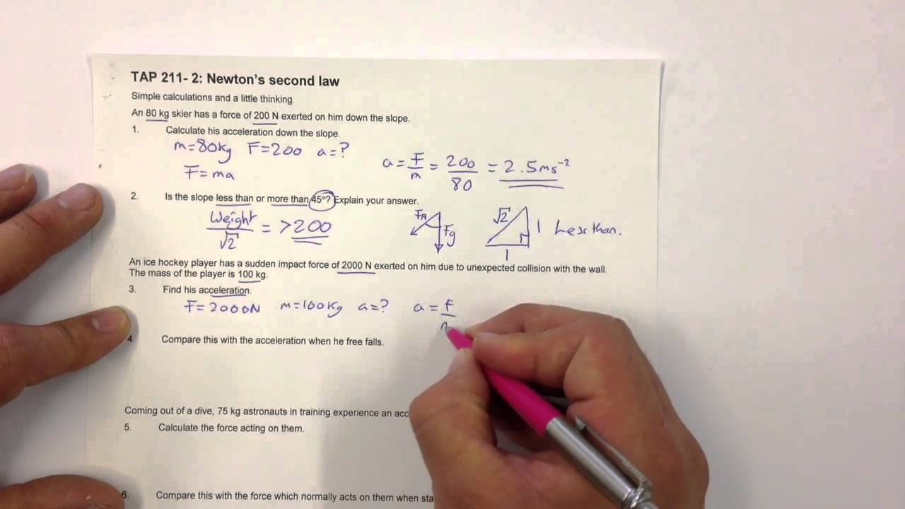 Newtons 2nd law problems - YouTube
