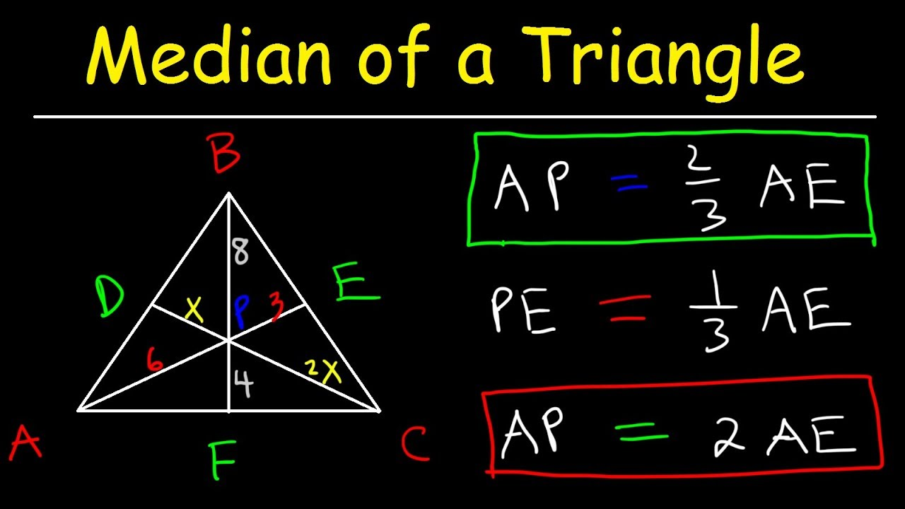 Median of a Triangle Formula, Example Problems, Properties, Definition,  Geometry, Midpoint & Centroi