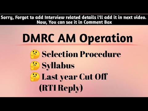 DMRC Assistant Manager Operations, Selection procedure, Syllabus, Cut Off 2018