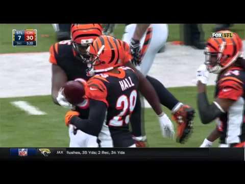 Nick Foles Tosses a Pick 6 to Leon Hall! | Rams vs. Bengals | NFL