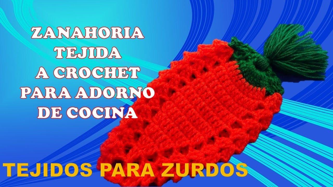 Para zurdos zanahorias tejidas a crochet para agarraderas for Utensilios de cocina para zurdos
