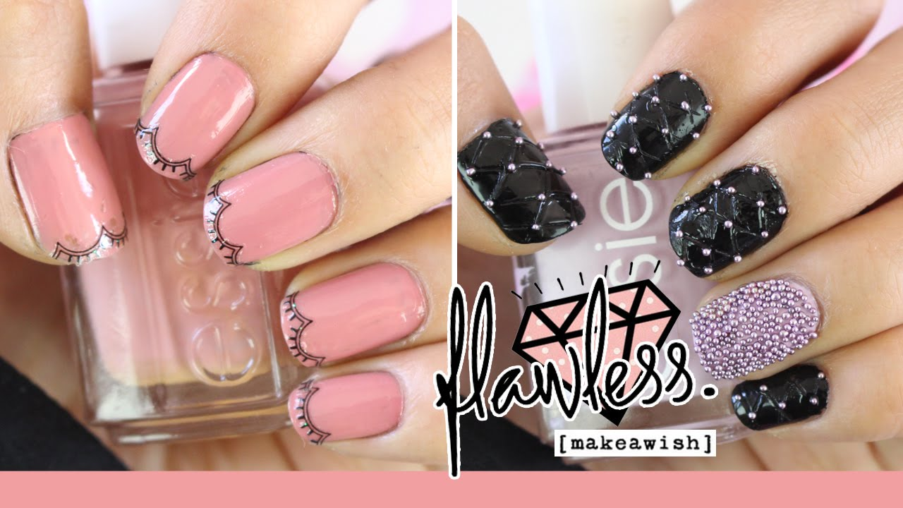 2 Diseños De Uñas Fáciles Caviar Nail Youtube