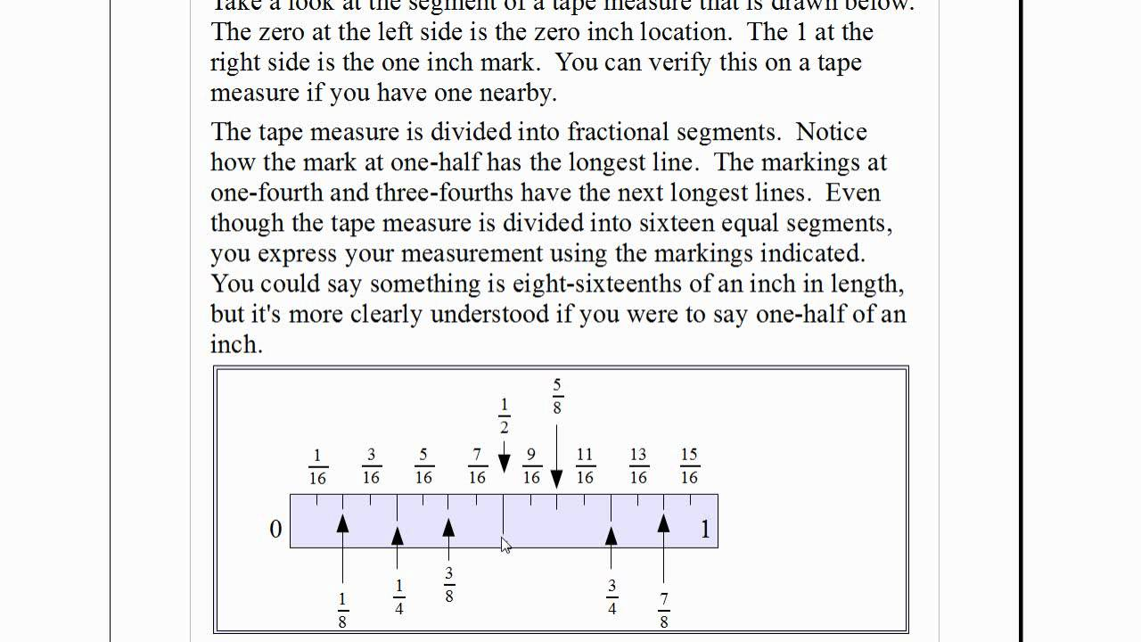 worksheet How To Read A Tape Measure Test easy fractions how to read a tape measure youtube measure