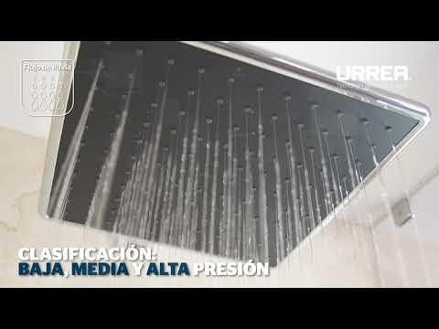 Grifería URREA – Regadera cuadrada acabado negro