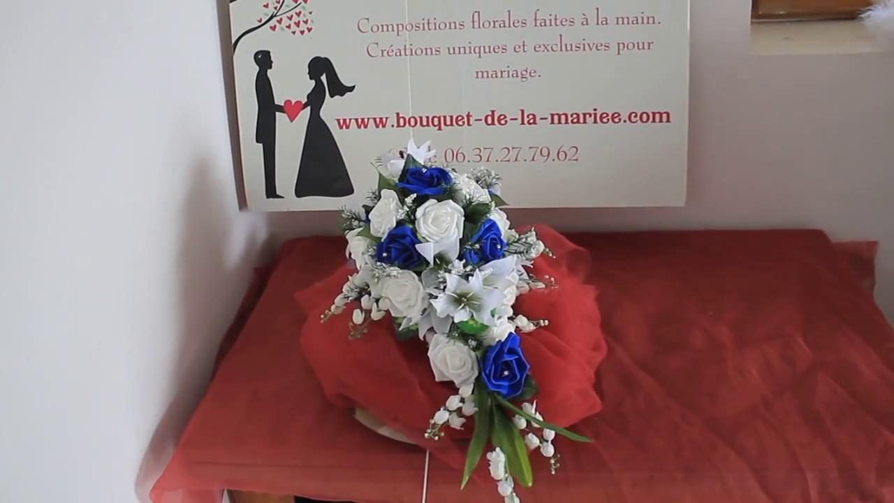 bouquet pour mariage avec des roses du lys et du muguet blanc et bleu youtube. Black Bedroom Furniture Sets. Home Design Ideas