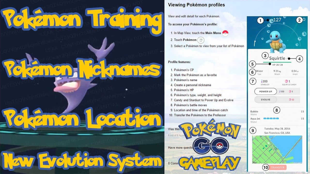 pokemon go training nicknames