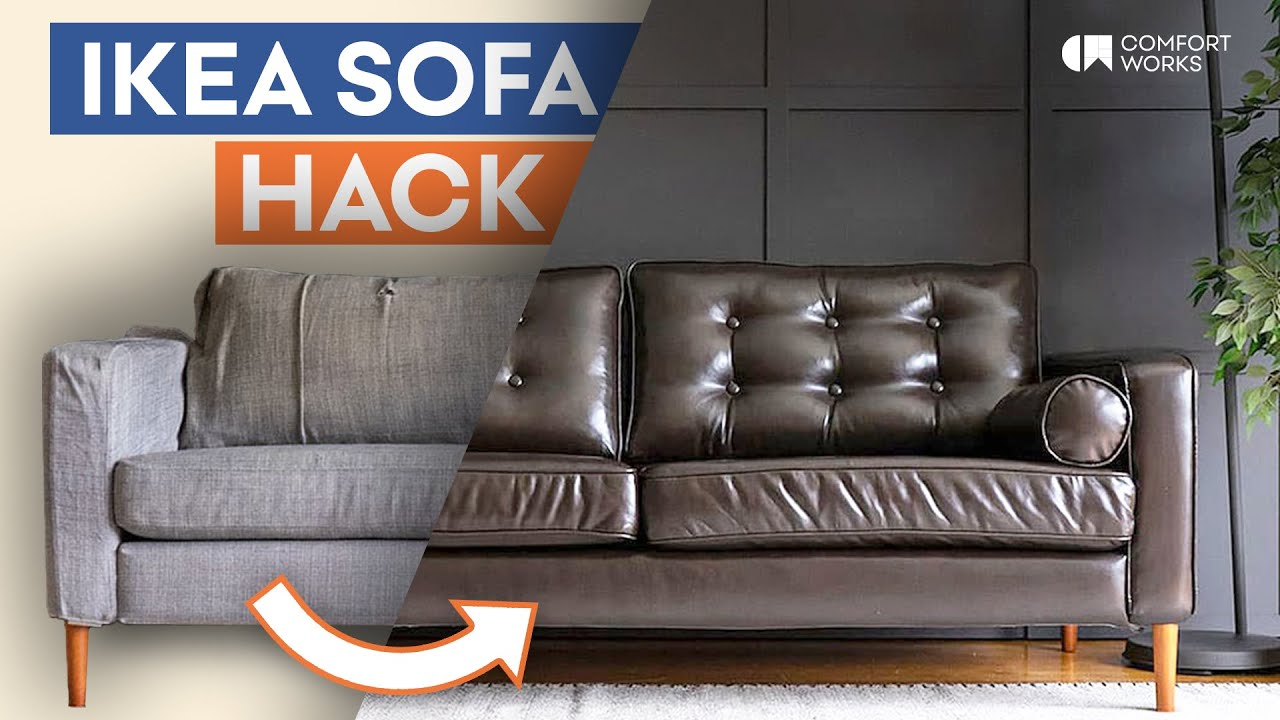 Ledersofa Ikea Säter Ikea Sofa Hack Leather Slipcover Legs Tufting Makeover