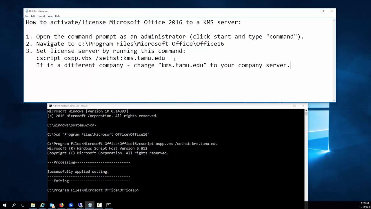 How to Activate Office to KMS server