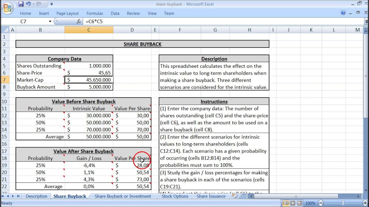 Share Buyback Valuation Excel