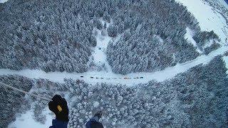Парашютист приземляется на ограниченную площадку в лесу