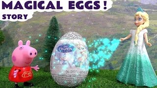 peppa pig with disney frozen elsa making magical surprise eggs minions toys hello kitty kinder