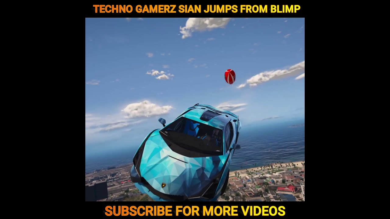 TECHNO GAMERZ LAMBORGHINI SIAN JUMPED FROM BLIMP IN GTA 5 | #shorts | nuclear vishu