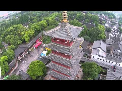 Aerial Hanshan Temple in Suzhou China