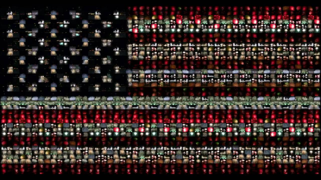 american flag video mosaic fireworks youtube