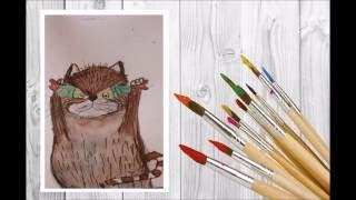 как нарисовать кота акварелью № 2 / скетч/ art make