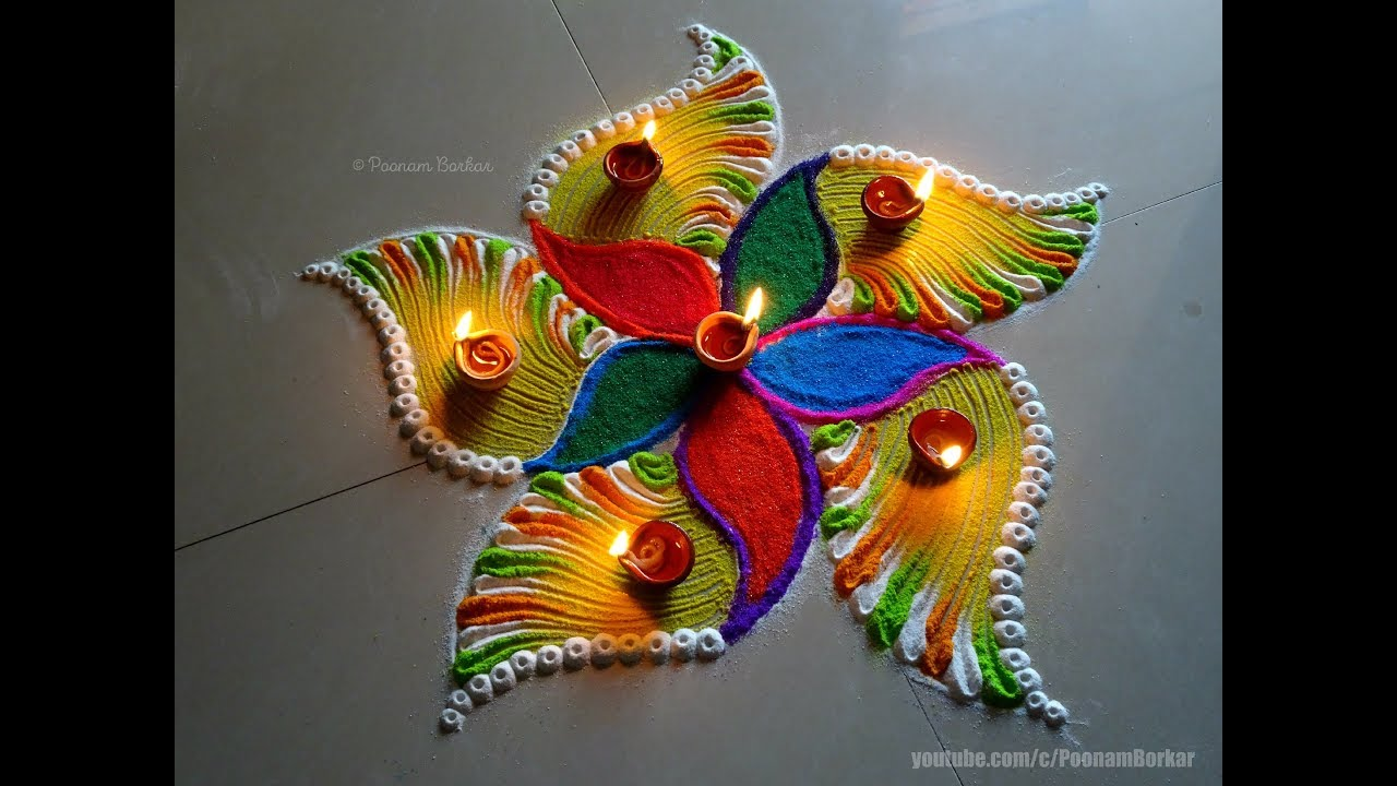 Easy, bright and beautiful rangoli for diwali | Easy rangoli designs by Poonam Borkar