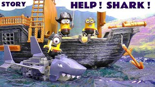 Funny Pirate Minions rescued by Paw Patrol | Mega Bloks Minions Shark Bait Treasure Set