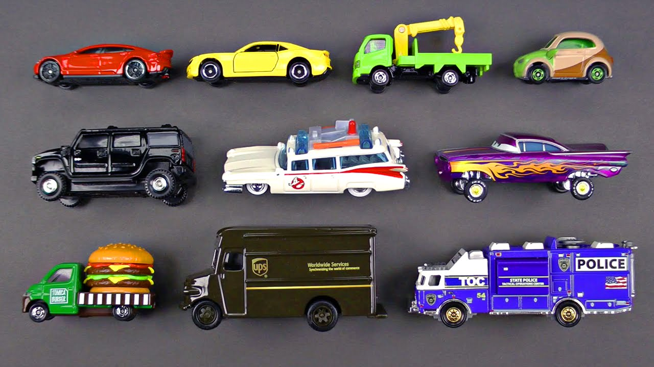 learning street vehicles for kids 6 matchbox hot wheels tomica cars and trucks disney cars youtube