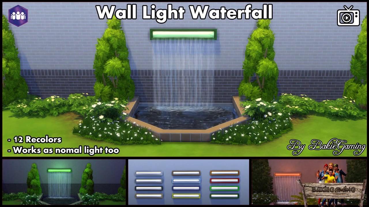 Bakies The Sims 4 Custom Content Wall Light Waterfall