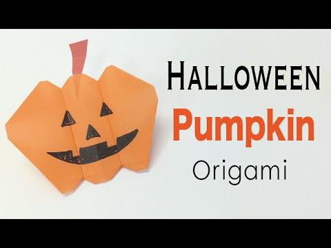 "Halloween Pumpkin ""jack-o'-lantern"" Origami paper 🎃 DIY 👻✨  - Origami Kawaii 〔#166〕"