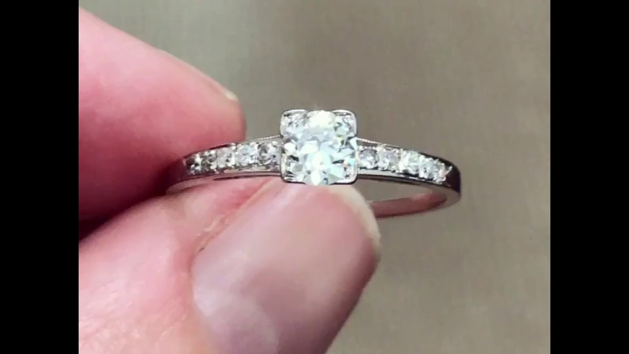 Art Deco diamond engagement ring from the 1920s - YouTube