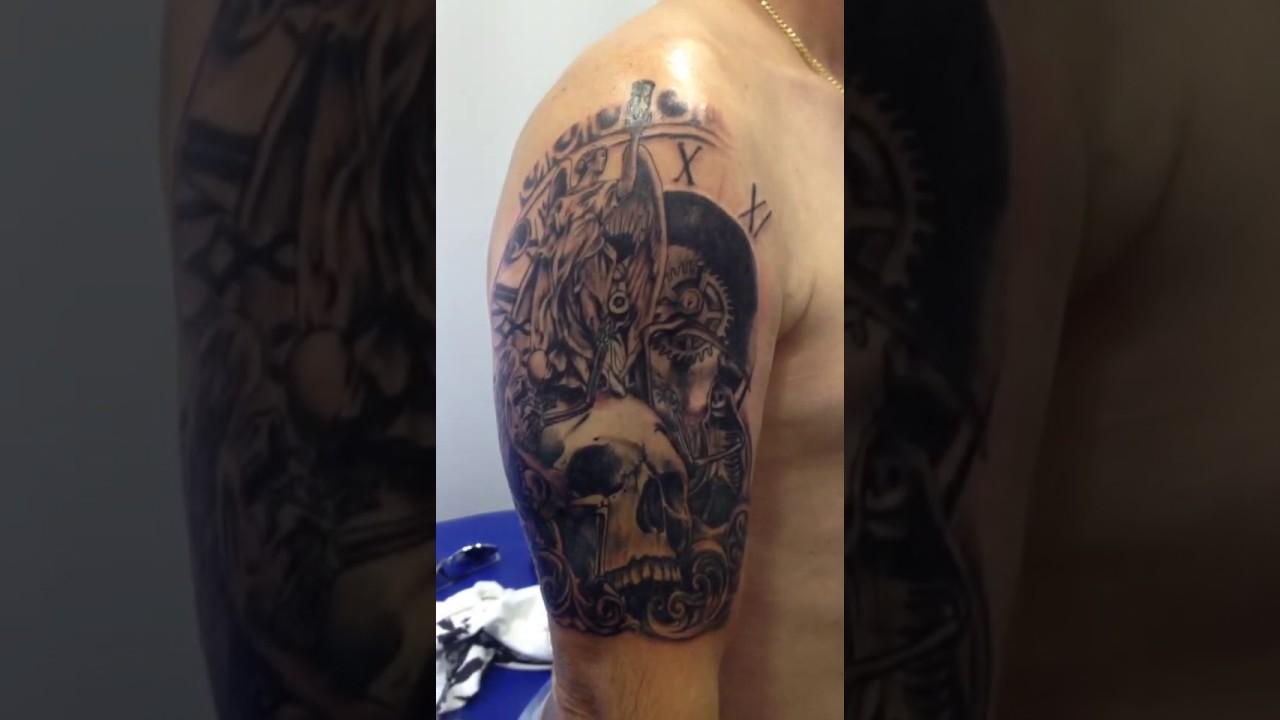 Tatuaje Calaveras Y Reloj Youtube