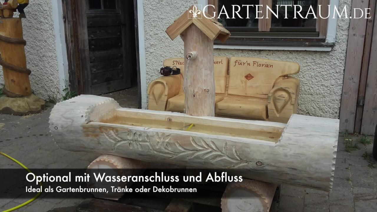 neu bei gartentraum.de ⚜ alpine baumstammbrunnen - holzbrunnen aus