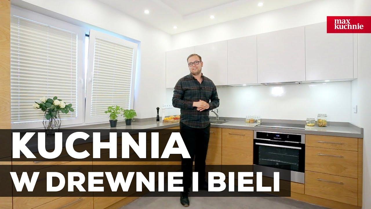 Kuchnia biała z elementami drewna  Studio Max Kuchnie   -> Kuchnia Biala Matowa Z Drewnem