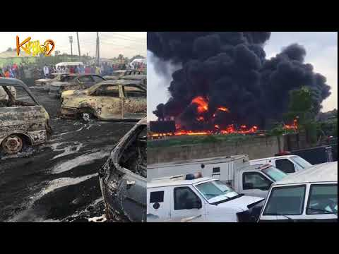 Dark Lagos ! Cars Burnt As Fuel Tanker Explodes At Berger, Lagos -Ibadan Expressway