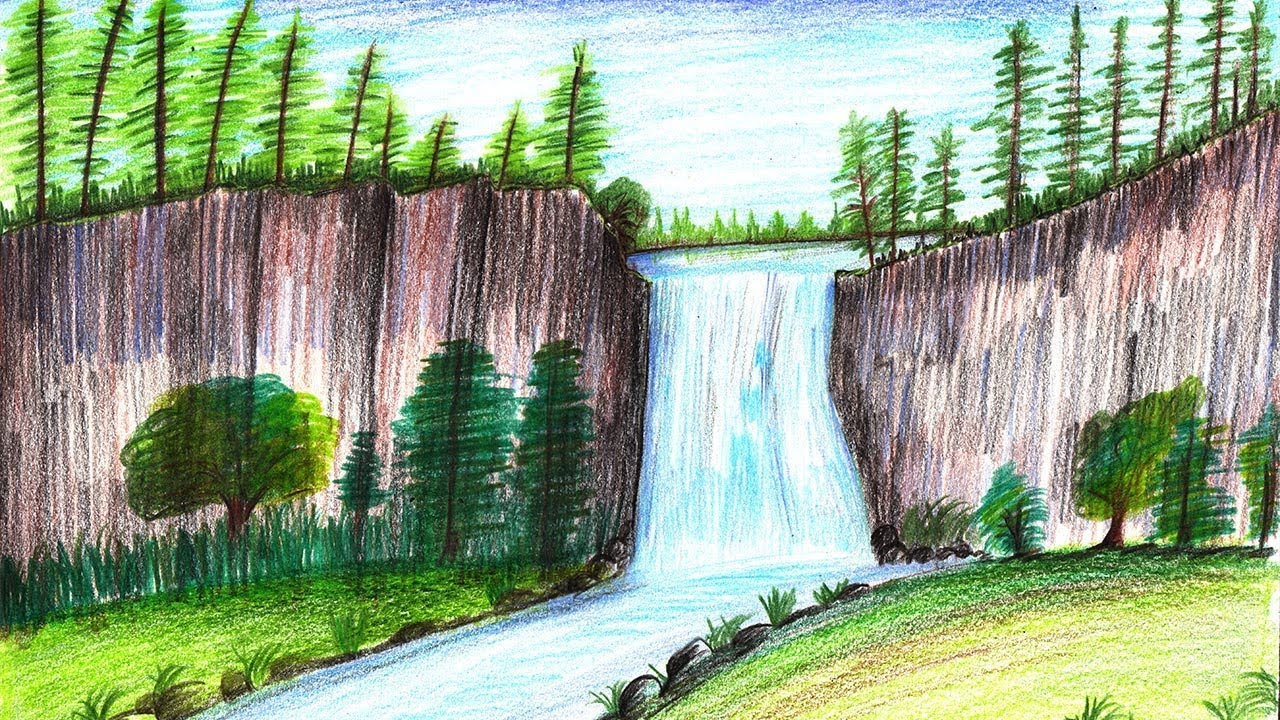 How to draw a beautiful waterfall step by step very easy