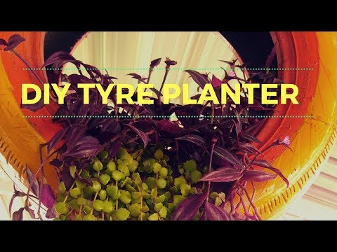 How to make a Beautiful Planter using Old Tyre/ How to reuse and recycle old tyres for Garden