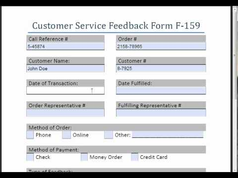 Customer Service Feedback Form F-159 - Youtube