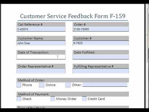 Customer Service Feedback Form F-159 - YouTube - service feedback form