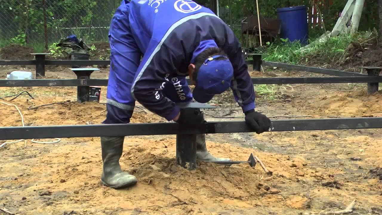 Монтаж винтовых свай по выгодным ценам от компании экобазис.