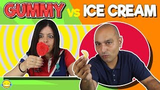 GUMMY FOOD vs ICE CREAM!! Gominolas vs Helados!!