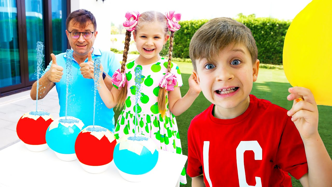 Roma and Diana experiment, have fun and learn the alphabet with balloons