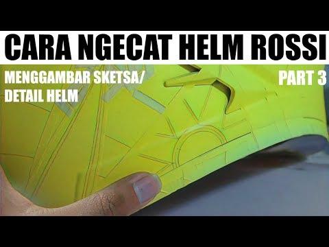 Airbrush Trick Membuat Sketsa Motif Helm Rossi Dengan Pensil